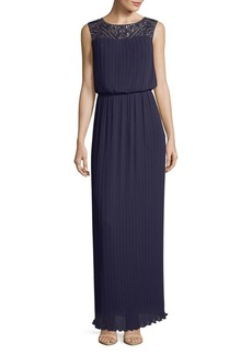 Alex Evenings Pleated Sleeveless Column Gown