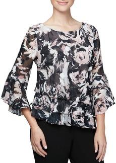 Alex Evenings Plus Floral Bell Sleeve Top