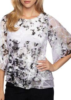 Alex Evenings Plus Floral-Print Triple Tier Blouse
