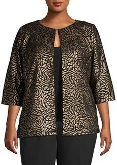 Alex Evenings Plus Printed Top and Jacket Twinset