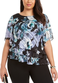 Alex Evenings Plus Size 3/4-Sleeve Printed Blouse