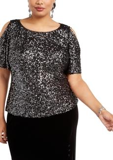 Alex Evenings Plus Size Allover-Sequin Cold-Shoulder Top