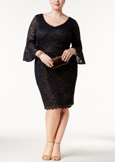 Alex Evenings Plus Size Bell-Sleeve Metallic Lace Dress