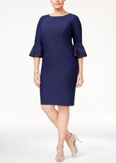 Alex Evenings Plus Size Bell-Sleeve Sheath Dress