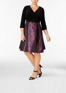 Alex Evenings Plus Size Brocade Faux-Wrap Dress