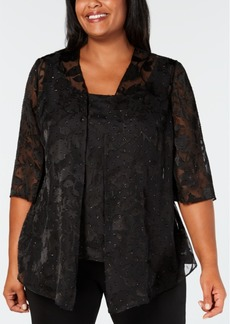 Alex Evenings Plus Size Burnout Jacket & Top Set