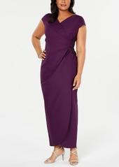 Alex Evenings Plus Size Cap-Sleeve Surplice Gown