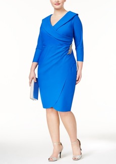 Alex Evenings Plus Size Compression Faux-Wrap Dress
