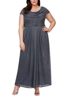 Alex Evenings Plus Size Cowlneck Glitter Gown