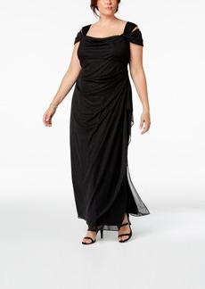 Alex Evenings Plus Size Draped Cold-Shoulder Dress