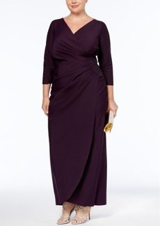 Alex Evenings Plus Size Embellished Draped Gown
