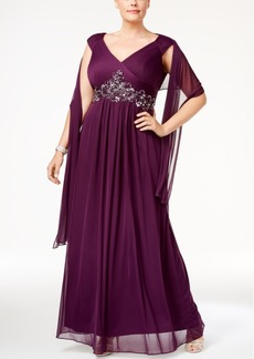Alex Evenings Plus Size Embellished Gown & Scarf