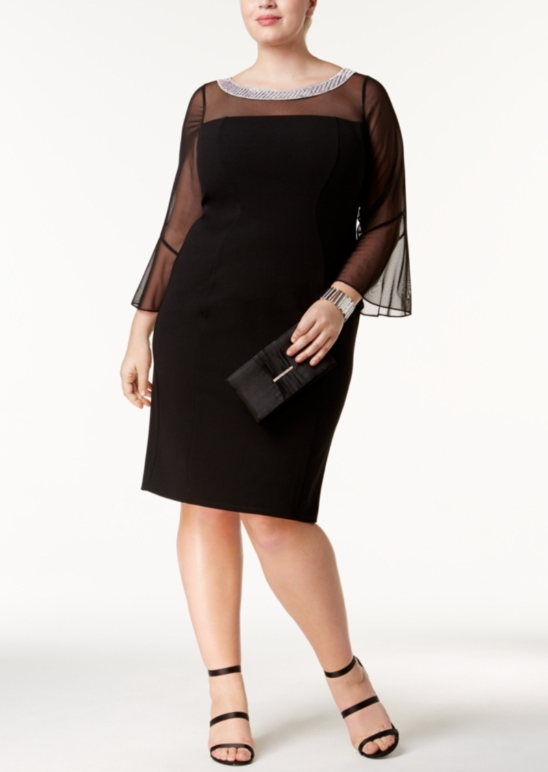 Plus Size Embellished Illusion Dress