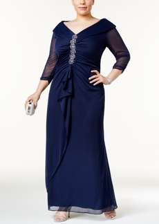 Alex Evenings Plus Size Embellished Ruched Portrait-Collar Gown