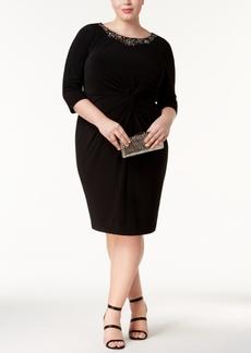 Alex Evenings Plus Size Embellished Twist-Front Dress