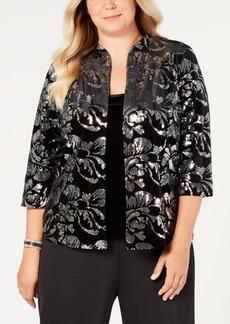 Alex Evenings Plus Size Embellished Velvet Jacket & Top Set