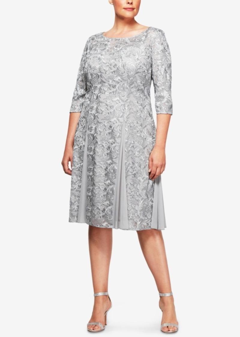 aeb360712b Alex Evenings Alex Evenings Plus Size Embroidered A-Line Dress