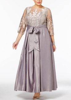 Alex Evenings Plus Size Embroidered Illusion Gown