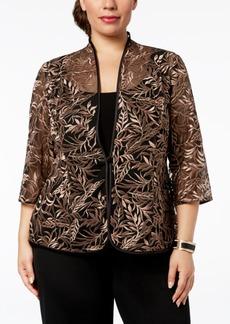 Alex Evenings Plus-Size Embroidered Jacket & Top Set