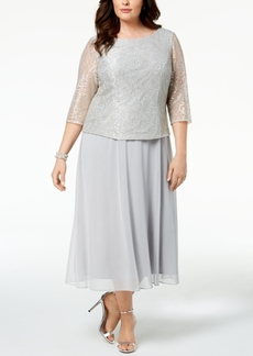 Alex Evenings Plus Size Embroidered-Overlay Dress