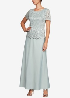 Alex Evenings Plus Size Glitter Lace & Satin Gown