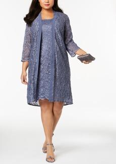 Alex Evenings Plus Size Glitter Lace Dress & Duster Jacket