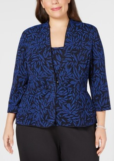 Alex Evenings Plus Size Glitter-Print Jacket & Top