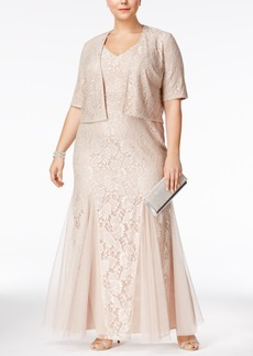 Alex Evenings Plus Size Lace A-Line Gown And Jacket
