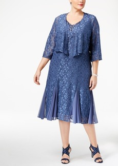 Alex Evenings Plus Size Lace Dress and Draped Jacket
