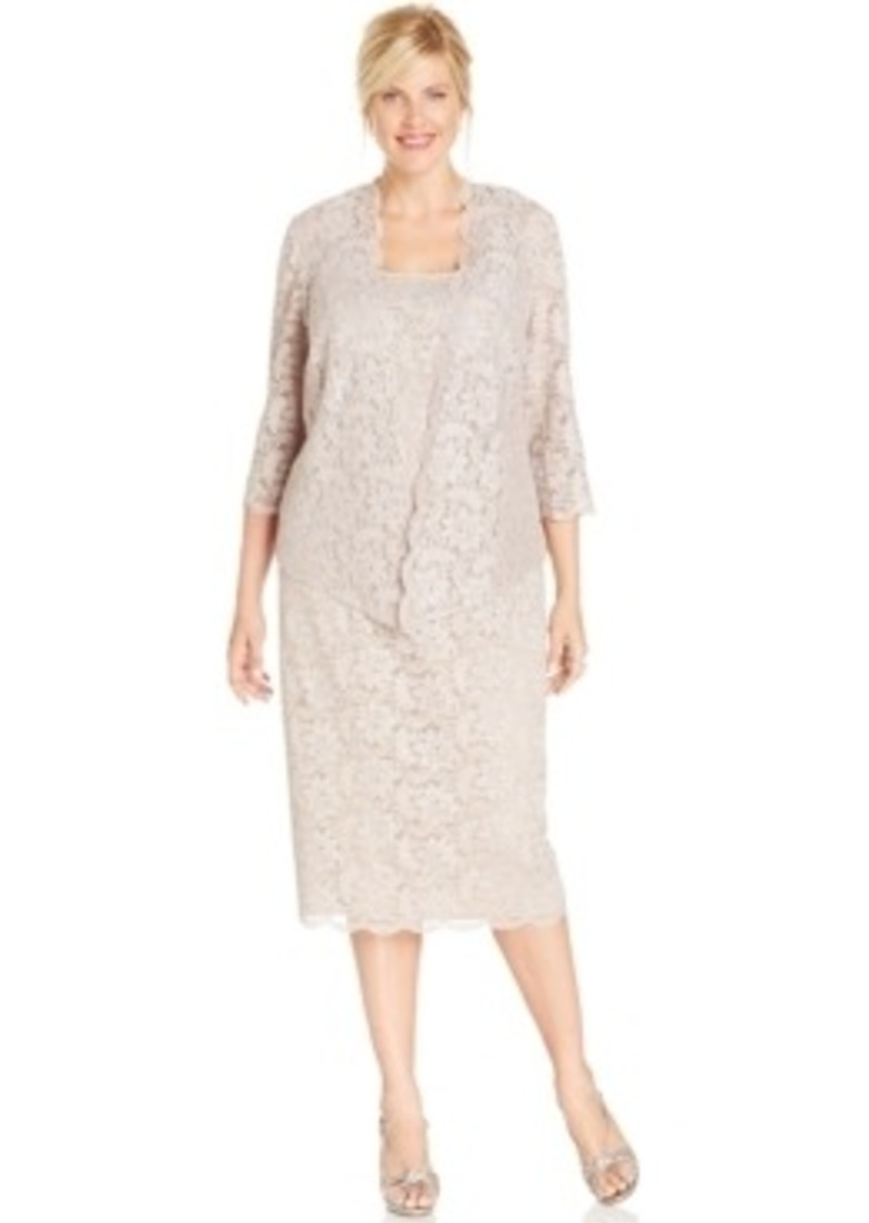 0ac6ccbfbaf Alex Evenings Alex Evenings Plus Size Lace Jacket Dress