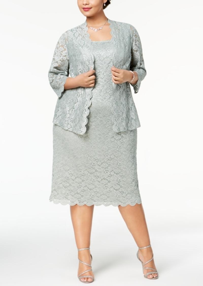 20ffb2d671 Alex Evenings Alex Evenings Plus Size Lace Midi Dress   Jacket