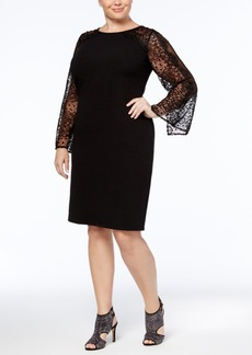 Alex Evenings Plus Size Lace-Sleeve Sheath Dress