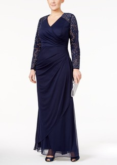 Alex Evenings Plus Size Lace-Sleeve Surplice Gown