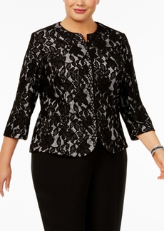 Alex Evenings Plus Size Lace Zip Jacket