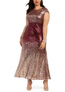 Alex Evenings Plus Size Ombre Sequin Gown