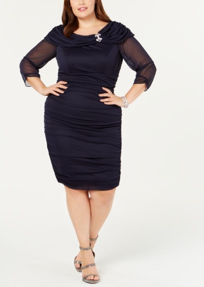 Alex Evenings Plus Size Portrait-Collar Ruched Dress