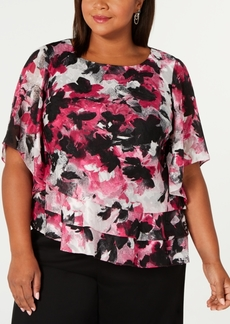 Alex Evenings Plus Size Printed Blouse