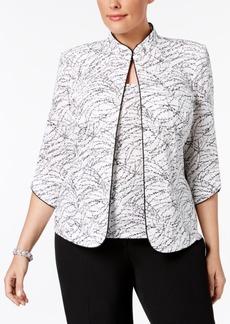 Alex Evenings Plus Size Printed Mandarin Jacket and Top