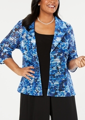 Alex Evenings Plus Size Printed Open-Front Jacket & Sleeveless Top