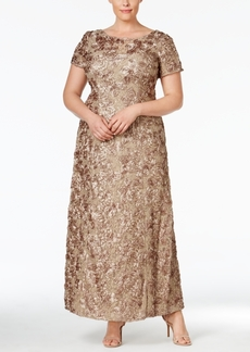 Alex Evenings Plus Size Rosette Lace A-Line Gown