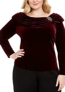 Alex Evenings Plus Size Ruched-Collar Velvet Blouse