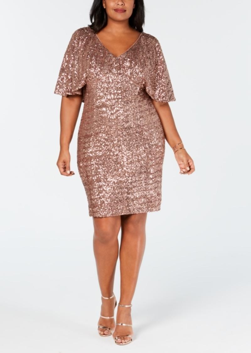 Alex Evenings Plus Size Sequin Capelet Dress