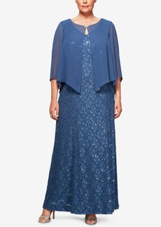 Alex Evenings Plus Size Sequin Lace Capelet Gown