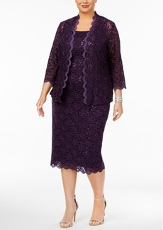 Alex Evenings Plus Size Sequin Lace Dress & Jacket