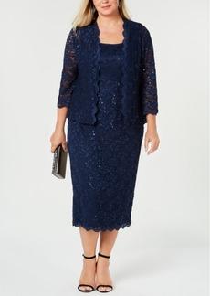 Alex Evenings Plus Size Sequin Lace Dress & Jacket