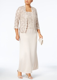 Alex Evenings Plus Size Sequin-Lace Gown and Jacket