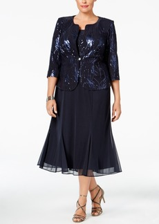Alex Evenings Plus Size Sequined Chiffon Dress and Jacket