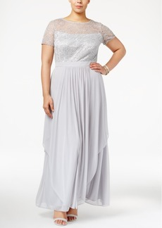 Alex Evenings Plus Size Sequined Illusion Lace Gown