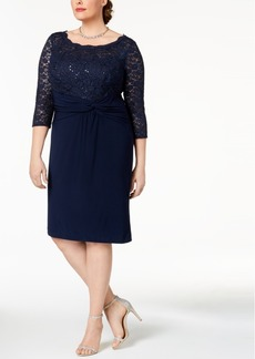 Alex Evenings Plus Size Sequined Lace & Ruched Dress
