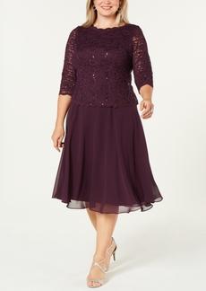 Alex Evenings Plus Size Sequined Lace A-Line Dress